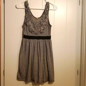 Modcloth black/grey Minidress with Floral Detail